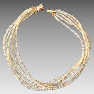 14k Gold Diamond & Opal Multi Strand Beaded Necklace