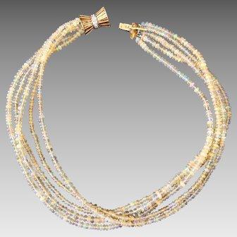 14k Gold Diamond & Opal Multi Strand Beaded Necklace