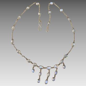 Antique Edwardian 9k Gold Glowing Moonstone Festoon Necklace