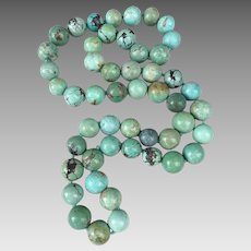Chinese Turquoise Gemstone Beaded Necklace Heavy 194.5 Grams