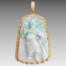 Chinese 14k Gold Carved Natural Jadeite Jade Diamond Guan Yu Warrior Pendant for Necklace Heavy 131.6 Grams