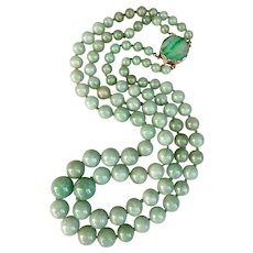 Art Deco 14k Gold Natural Carved Jadeite Jade Double Strand Beaded Necklace Hallmarked