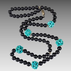 Chinese Gilded Silver Onyx Turquoise Gemstone Beaded Necklace