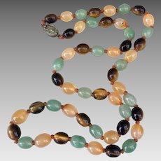 Chinese Gilded Silver Tigers Eye Aventurine Quartz Gemstone Beaded Necklace