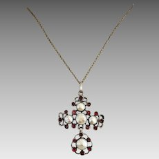 Antique Georgian Blister Pearl Garnet Silver Cross Pendant Necklace