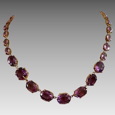 Antique Victorian Yellow Gold Riviere Amethyst Gemstone Necklace
