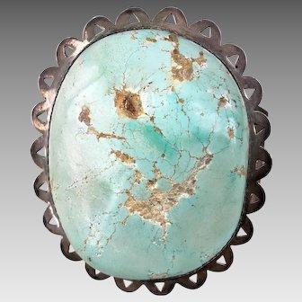 Huge Signed Navajo Turquoise Sterling Silver Cuff Bracelet 149.3 Grams