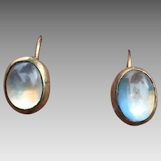 Art Deco Gilt Sterling Silver Moonstone Screw Back Earrings