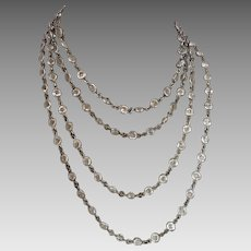 Art Deco Crystal Open Back Bezel Set Sautoir Necklace