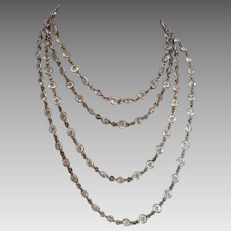 Art Deco Crystal Open Back Bezel Set Sautoir Necklace