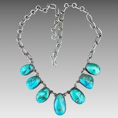 Vintage Federico Jimenez Vintage Sterling Silver Turquoise Necklace