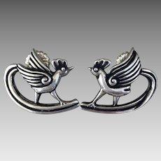 Mexico Margot De Taxco Vintage Sterling Silver Earrings