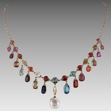 Gia Antique Victorian 14k Gold Zircon Sapphire Tourmaline Garnet Multi Gemstone Necklace With Appraisal