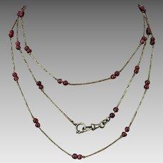 Rare Art Deco European Platinon Genuine Garnet Beaded Muff Chain Necklace