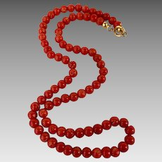 Antique 14k Gold Mediterranean Natural Coral Beaded Necklace