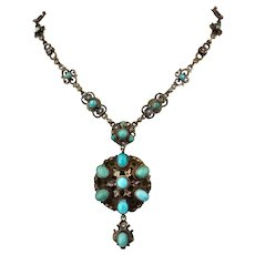Antique Victorian Hungarian Austro Turquoise Gilded Silver Necklace