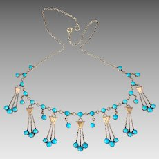 Antique Edwardian 10k Gold Sleeping Beauty Natural Turquoise Gemstone Necklace