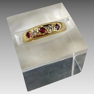 18k Gold Ruby Diamond European Hallmarked Ring