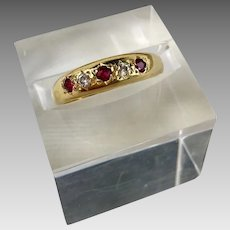 18k Gold Ruby Diamond European Hallmarked Ring