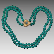 14k Gold Ruby Turquoise Double Strand Beaded Necklace