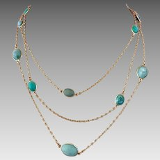 Antique 14k Gold Turquoise Gemstone Open Back Bezel Set Guard Chain Necklace
