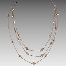 Antique Victorian 9k Gold Paste Crystal Open Back Bezel Set Guard Chain Necklace