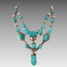 Rare Carved Natural Turquoise Sterling Silver Lavaliere Drop Statement Necklace