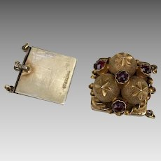 Antique Victorian Garnet Gemstone Gilded Sterling Silver Clasp for Bracelet Necklace