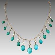 Antique European 9K Gold Victorian Turquoise Pearl Festoon Necklace