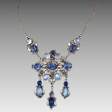 Antique Arts and Crafts Moonstone Sapphire Sterling Silver Necklace