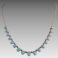 Antique Victorian 15k Gold Riviere Opal Ruby Multi Gemstone Necklace