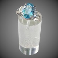 Platinum 2.10 cts Aquamarine Diamond Gemstone Ring