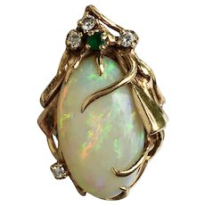 Retro 14k 22.96cts Fire Opal Diamond Emerald Multi Gemstone Ring Over $3000 Certified Appraisal Included