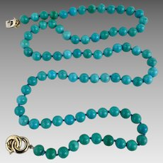 Italian 18k Gold Hallmarked Sleeping Beauty Turquoise Gemstone Beaded Necklace