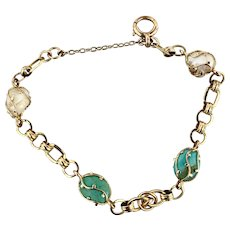 Antique Arts and Crafts 9k Gold Natural Pearl Turquoise Bracelet