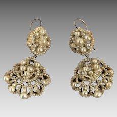 Antique Georgian Seed Pearl Chandelier Earrings for Restoration