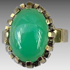 German Retro 14k Gold Chrysoprase Gemstone Ring