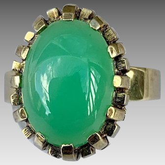 German Retro 14k Gold Chrysoprase Gemstone Ring