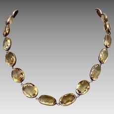 Antique Victorian 14k Gold Rivière Natural Citrine Gemstone Necklace