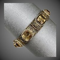 Antique 14k Gold Citrine Seed Pearl Filigree Bracelet Hallmarked Signed With Appraisal $2350