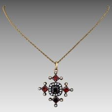 Antique Georgian 10K Gold Riviere Garnet Seed Pearl Pendant for Necklace