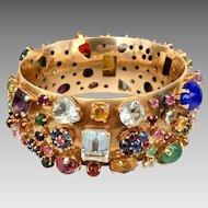 14k Gold Multi Gemstone Aquamarine Sapphire Turquoise Tourmaline Garnet Bracelet Appraised $18,225.00