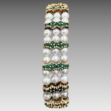 Retro 14k Gold Lucien Piccard Cultured Pearl Emerald Gemstone Bracelet
