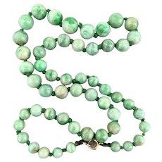 Art Deco 9K Gold Jadeite Jade Beaded Necklace 30.2 Grams