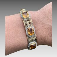 Antique 14k Gold Citrine Seed Pearl Filigree Bracelet Hallmarked Signed With Appraisal $2100