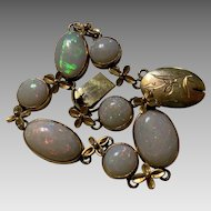 Antique Chinese Hallmarked 14k Gold Opal Bracelet