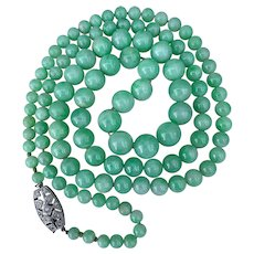 Platinum Diamond Jadeite Jade Beaded Necklace