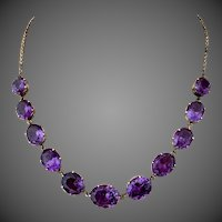Retro 18k Gold Alexandrite Color Stone Necklace