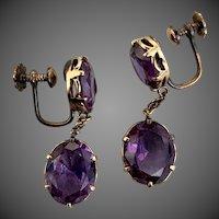 Retro 18k Gold Alexandrite Color Stone Earrings
