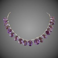 Antique Victorian 10k Gold Amethyst Gemstone Seed Pearl Festoon Necklace